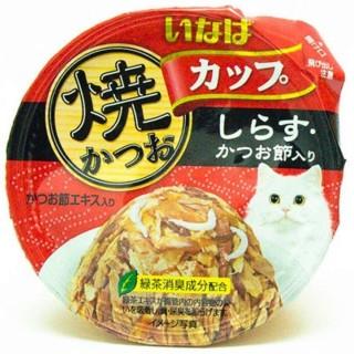 Inaba Yaki Katsuo Cup Tuna in Gravy Topping Whitebait & Sliced Bonito 80g Cat Wet Food (IMC101)