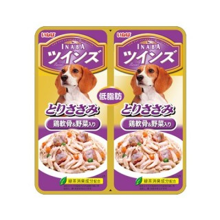 Inaba Twin Pouch Jelly Chicken with Cartillage & Veggies 80g Dog Treats (TW07)