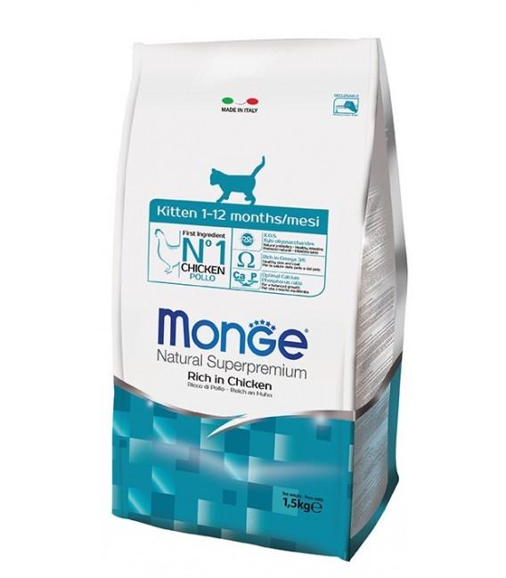 Monge Natural Superpremium Rich in Chicken 1.5kg Kitten Dry Food