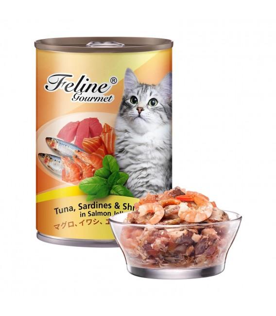 Pet Plus Feline Gourmet Tuna, Sardines & Shrimp in Salmon Jelly 400g Cat Wet Food
