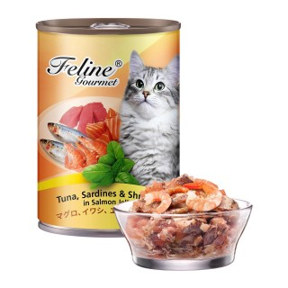 Pet Plus Feline Gourmet Tuna, Sardines & Shrimp in Salmon Jelly 400g Cat Wet Food