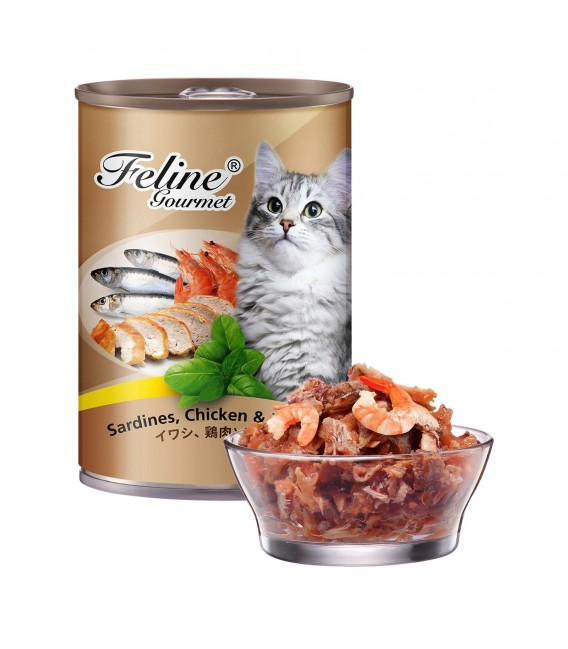 Pet Plus Feline Gourmet Sardines, Chicken & Prawn 400g Cat Wet Food
