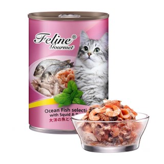 Pet Plus Feline Gourmet Ocean Fish Selection with Squid & Prawn 400g Cat Wet Food