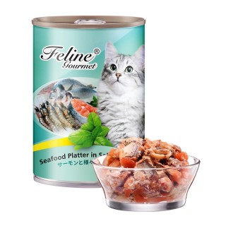 Pet Plus Feline Gourmet Seafood Platter in Salmon Jelly 400g Cat Wet Food