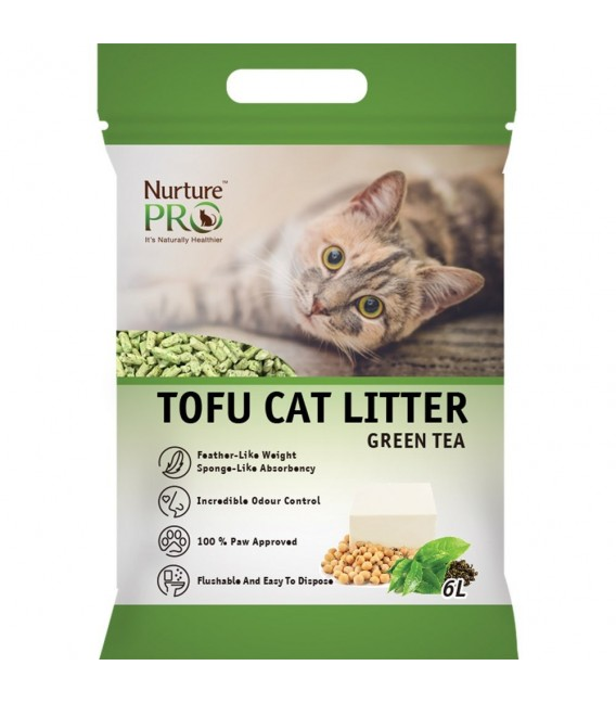 Nurture Pro Green Tea 6L Tofu Flushable Clumping Cat Litter