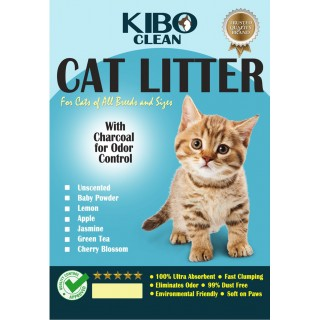 Kibo Clean Clumping Charcoal BABY POWDER 10L Cat Litter