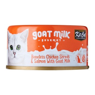 Kit Cat Goat Milk Gourmet BONELESS CHICKEN SHREDS & SALMON with Goat Milk 70g Grain Free Cat Wet Food