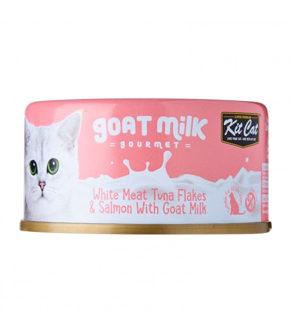 Kit Cat Goat Milk Gourmet WHITE MEAT TUNA FLAKES & SALMON with Goat Milk 70g Grain Free Cat Wet Food