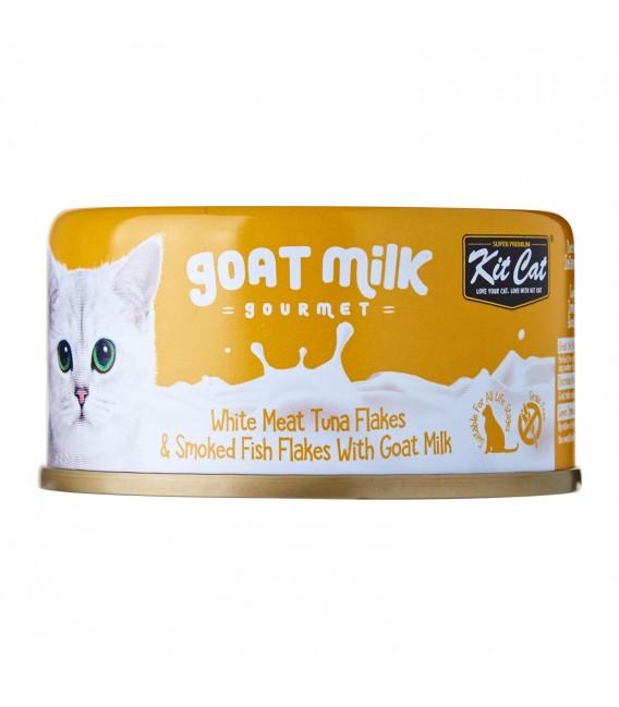 Kit Cat Goat Milk Gourmet WHITE MEAT TUNA FLAKES & SMOKED FISH FLAKES with Goat Milk 70g Grain Free Cat Wet Food