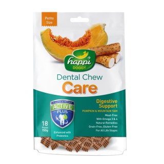 Happi Doggy Dental Chew Care Digestive Support Pumpkin & Mountain Yam Petite Size 150g Dog Treats