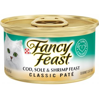 Fancy Feast Classic Pate Cod, Sole & Shrimp Feast 85g Grain-Free Cat Wet Food