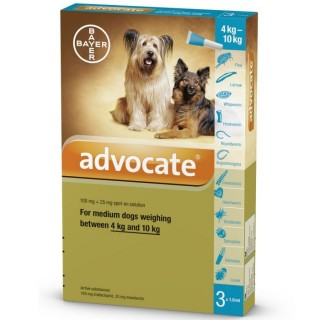Advocate Flea & Tick Spot On for Medium Dogs 4kg to 10kg (3 x 1ml pipettes)