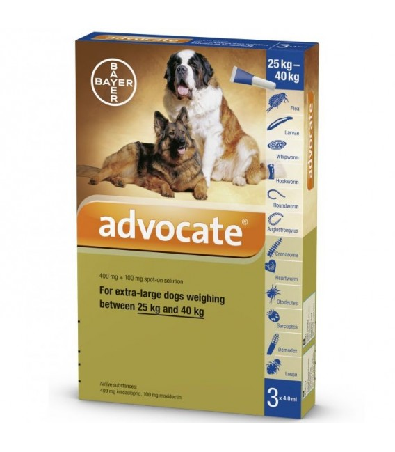 Advocate Flea & Tick Spot On for Extra large Dogs 25kg to 40kg (3 x 4ml pipettes)