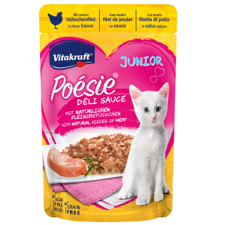 Vitakraft Poesie Deli Sauce JUNIOR with Tender Chicken Fillet in a Fine Sauce 85g Grain Free Cat Wet Food