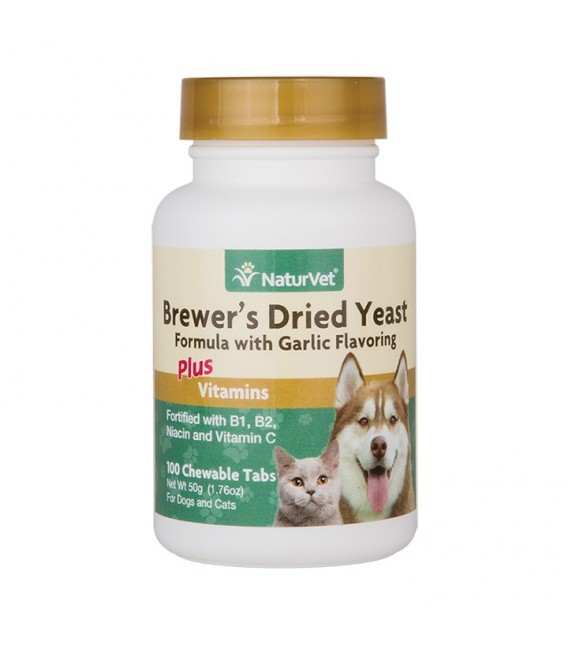 NaturVet Brewer's Dried Yeast Formula with Garlic Flavoring Plus Vitamins 100 Chewable Tablets Dog & Cat Supplement